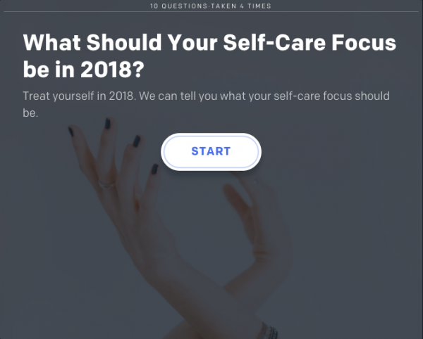 Graphic to take a quiz about self care in 2018